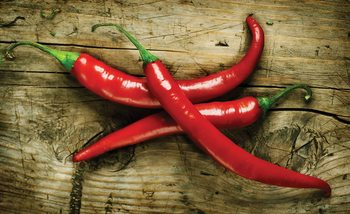 Hot Chillies Food Wood Fotobehang