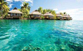 Island Caribbean Sea Tropical Cottages Fotobehang