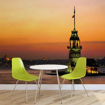 Istanbul City Urban Sunset Fotobehang
