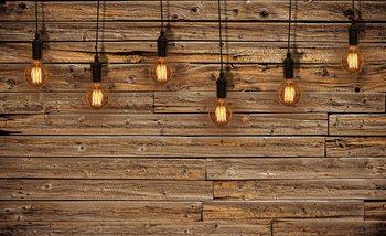 Light Bulbs Wood Plankets Fotobehang
