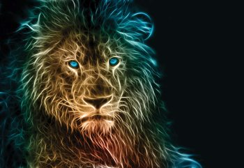 Lion Modern Light Painting Fotobehang