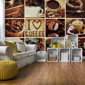 Love Coffee Squares Fotobehang