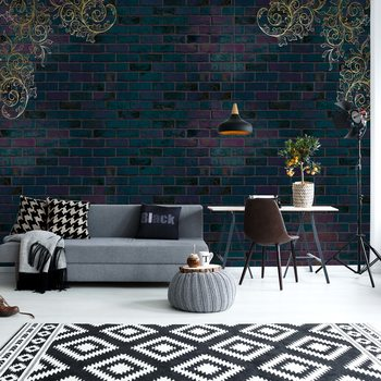 Luxury Dark Brick Wall Fotobehang