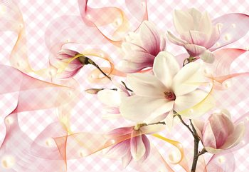 Magnolia Flowers Pink Fotobehang