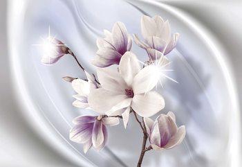 Magnolia Modern Floral Design Blue Fotobehang