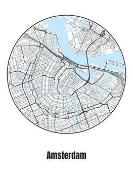 Map of Amsterdam Fotobehang