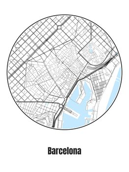 Map of Barcelona Fotobehang