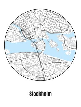 Map of Stockholm Fotobehang