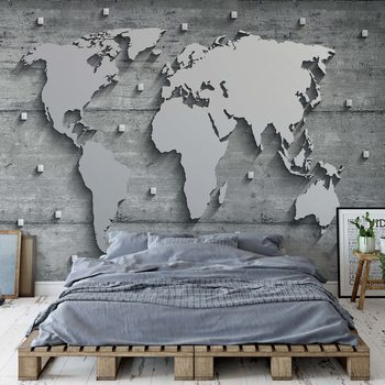 Modern 3D World Map Concrete Texture Fotobehang