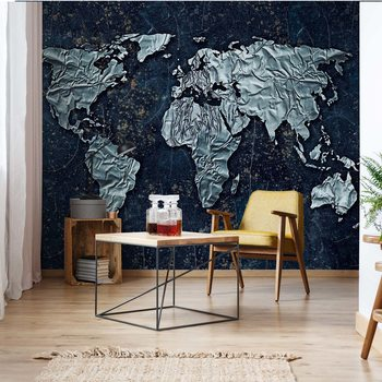 Modern 3D World Map Fotobehang