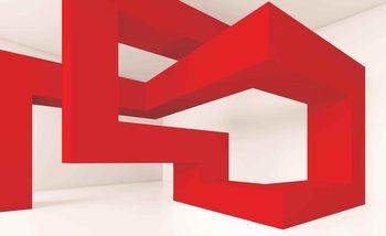 Modern Abstract Red White Fotobehang