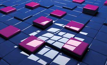 Modern Abstract Squares Blue Purple Fotobehang