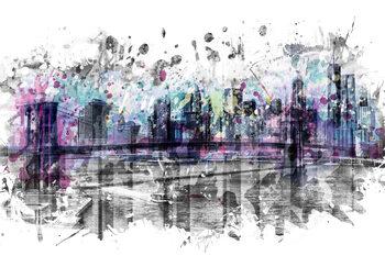 Modern Art NEW YORK CITY Skyline Splashes Fotobehang