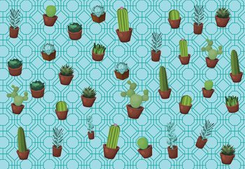 Modern Cactus Pattern Light Blue Fotobehang