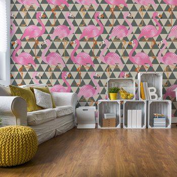 Modern Flamingo Pattern Fotobehang