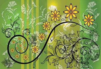 Modern Floral Design With Swirls Green And Yellow Fotobehang