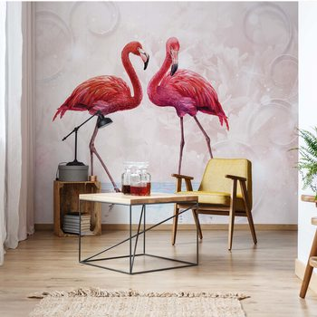 Modern Tropical Flamingos Fotobehang