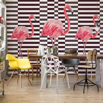 Modern Tropical Flamingos Fotobehang