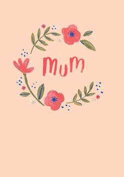 Mum floral wreath Fotobehang