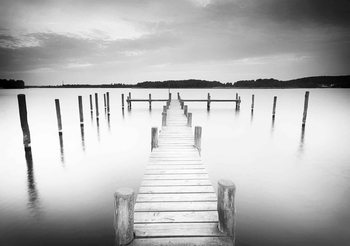 Nature Water Lake Jetty Black White Fotobehang