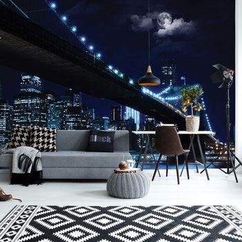 New York Brooklyn Bridge At Night Fotobehang