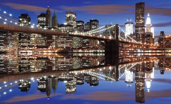 New York Brooklyn Bridge Night Fotobehang