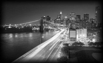 New York City Brooklyn Bridge Lights Fotobehang