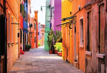 Old Colourful Street Fotobehang