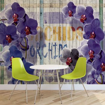 Orchids Flowers Wooden Planks Fotobehang