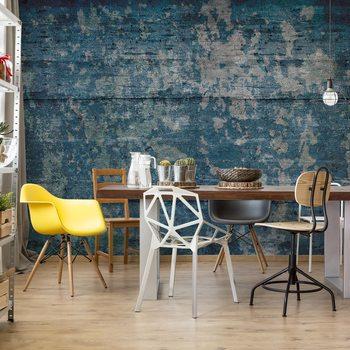 Painted Wood Texture Blue Fotobehang