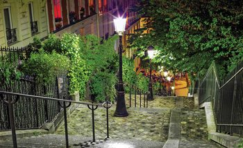 Paris City Street Night Fotobehang