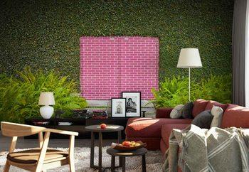 Pink Brick Door Fotobehang