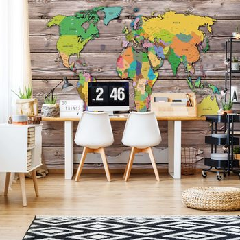 Political World Map On Wood Background Fotobehang