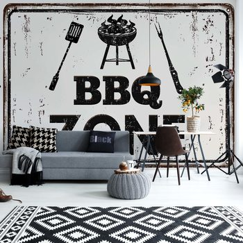 Retro Sign Bbq Zone Fotobehang