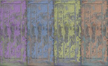 Rustic Painted Wood Doors Fotobehang