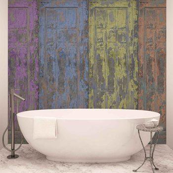 Rustic Painted Wood Doors Fotobehang