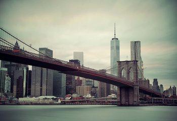 Sepia New York City Skyline Brooklyn Bridge Fotobehang