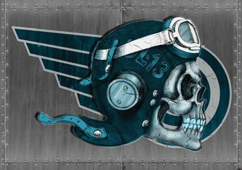 Skull Flying Tattoo Fotobehang