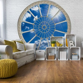 Sky Ornamental Window View Fotobehang