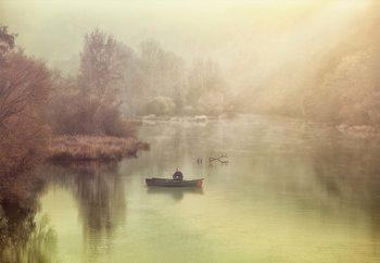 The Lonely Fisherman Fotobehang