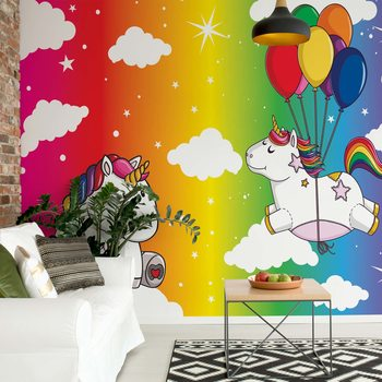Unicorns Rainbow Fotobehang
