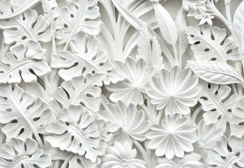 Vintage 3D Carved Flowers White Fotobehang