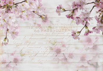 Vintage Chic Cherry Blossom Wood Planks Fotobehang
