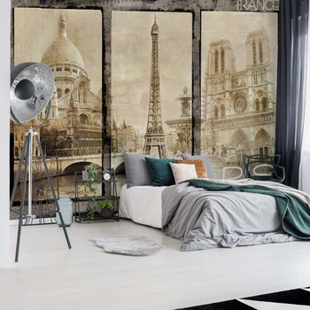 Vintage Paris Tryptich Fotobehang