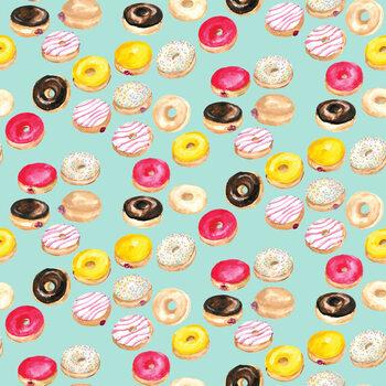 Watercolor donuts in mint Fotobehang