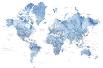 Watercolor world map with cities in muted blue, Vance Fotobehang