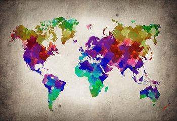 Watercolour World Map Fotobehang