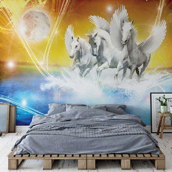 Winged Horses Pegasus Yellow And Blue Fotobehang