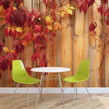 Wood Fence Flowers Fotobehang