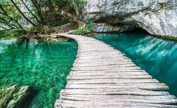 Wooden Bridge in Lagoon Fotobehang